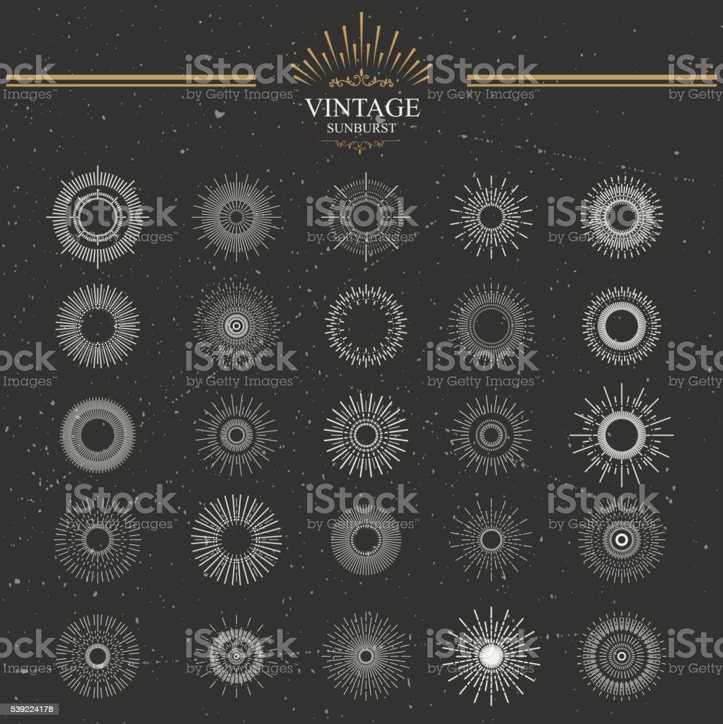 Designers collection of sunburst vector art illustration