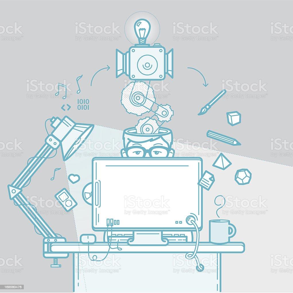 Designer's creative process vector art illustration