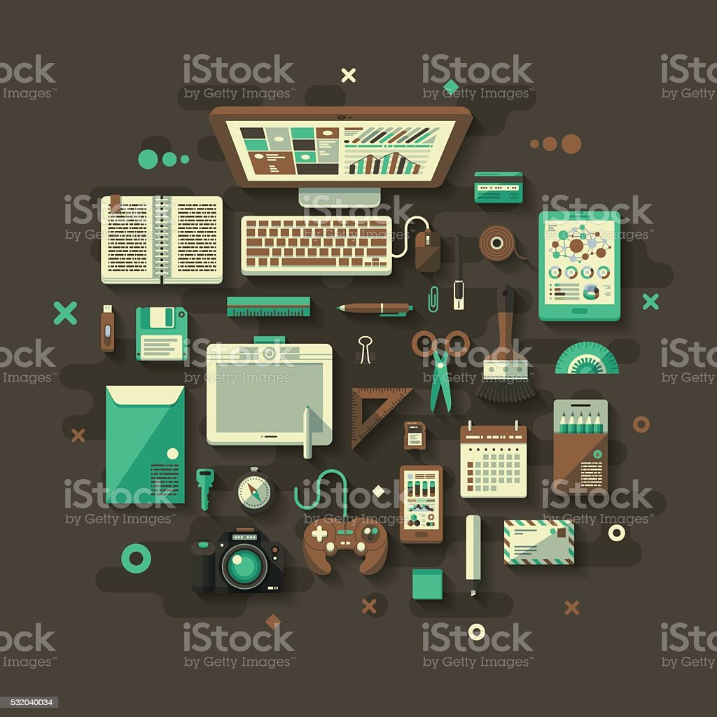 Designer's Desk Flat Design Concept vector art illustration