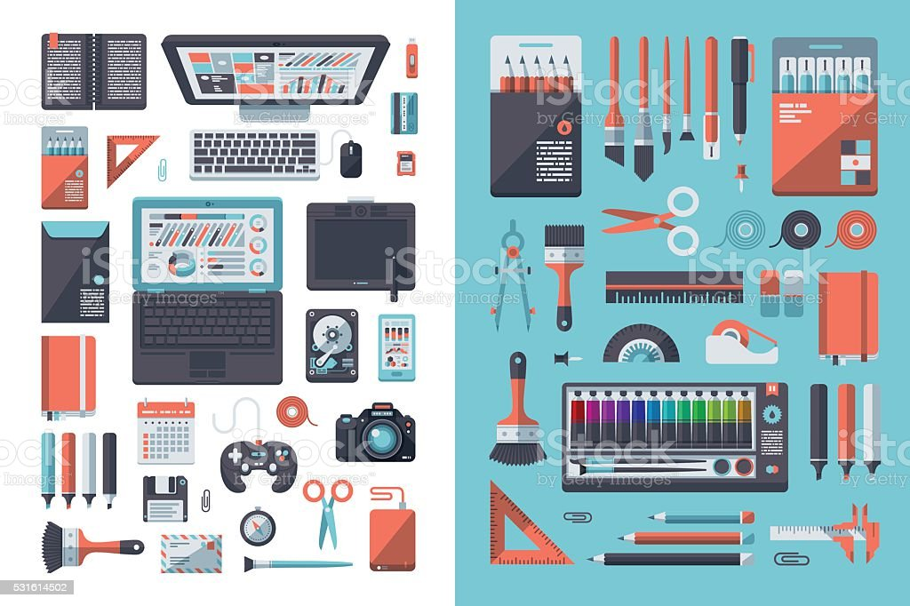 Designer's Desk Flat Design Set vector art illustration