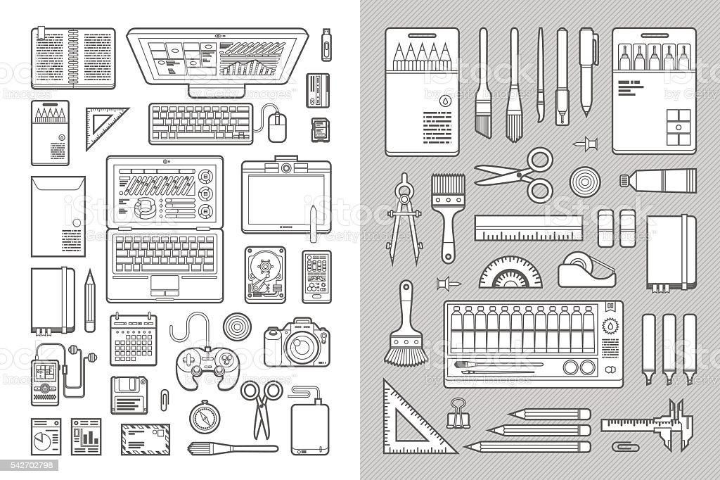 Designer's Desk Flat Design Set vector art illustration