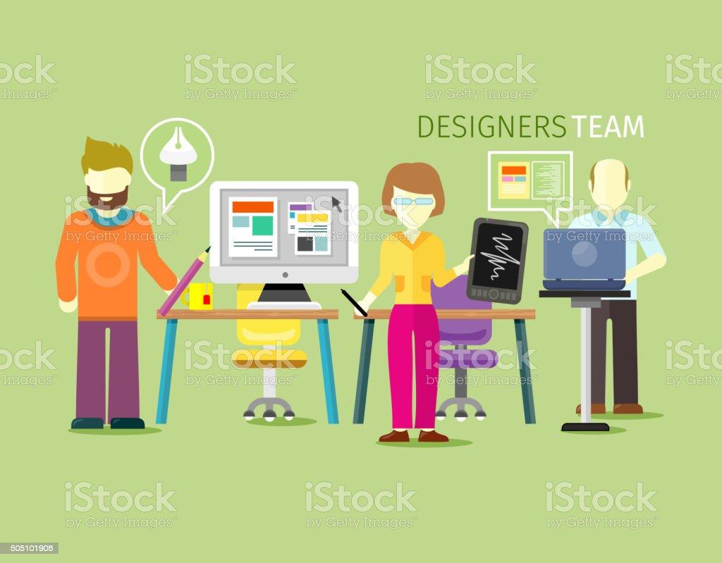 Designers Team People Group Flat Style vector art illustration