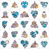 3D designs, abstract vector shapes set.