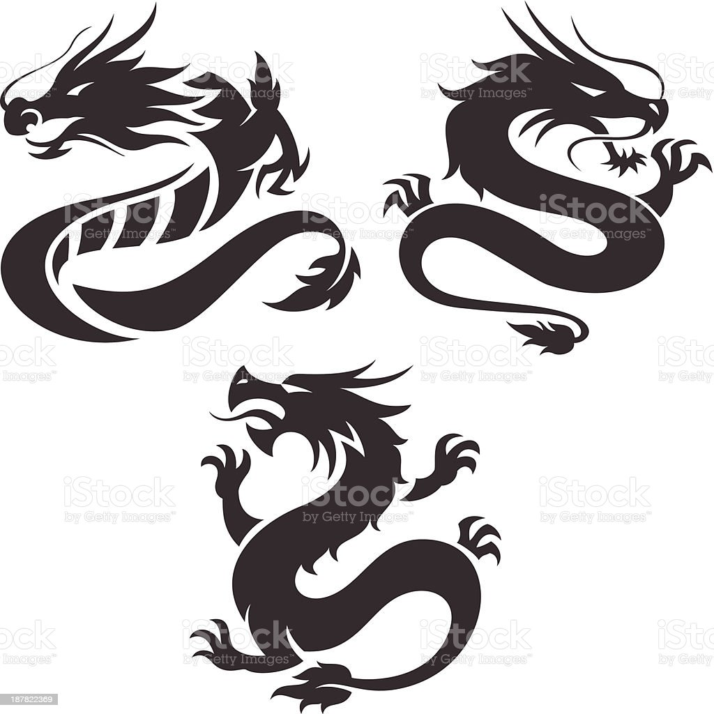 Designs of Chinese dragons on a white background vector art illustration