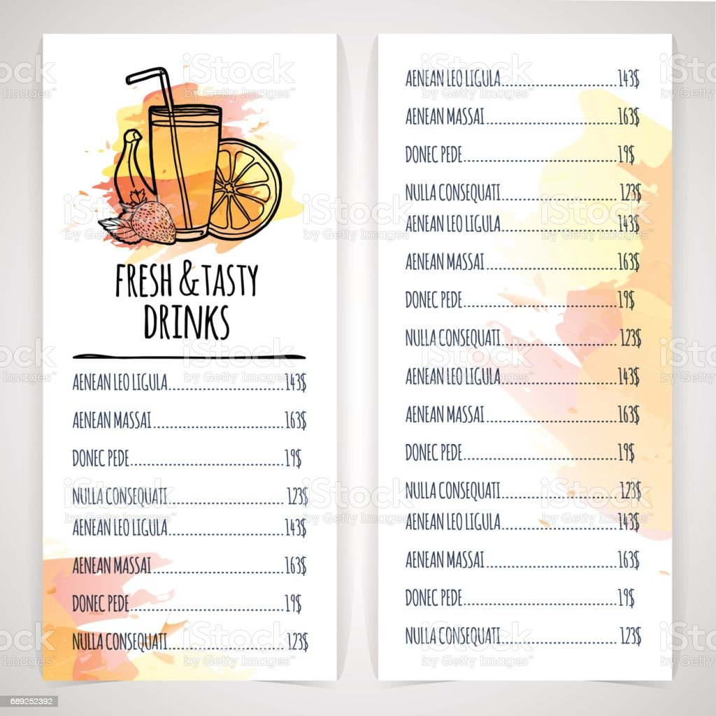 Designt Template Drink Menu Layout Flyer Of Juice And Coctail Watercolor  Decor Vector