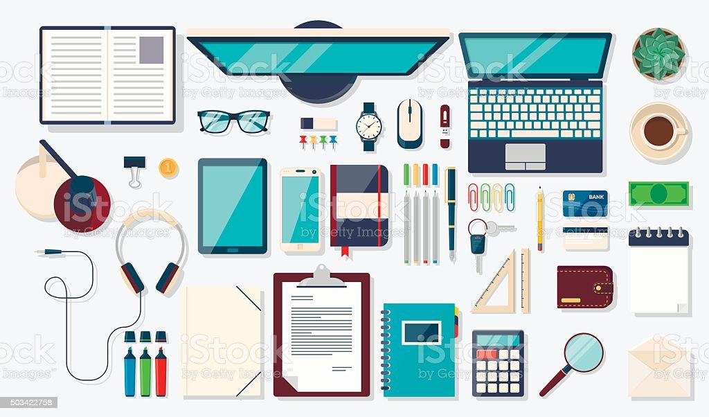 Desk background with digital devices and office objects vector art illustration