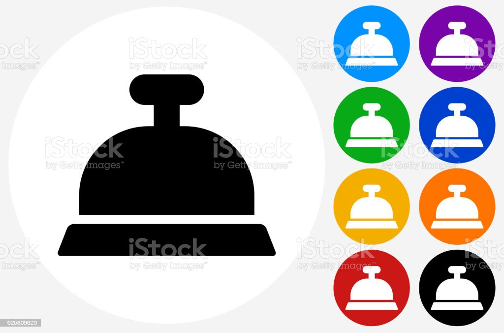 Desk Bell Icon on Flat Color Circle Buttons vector art illustration