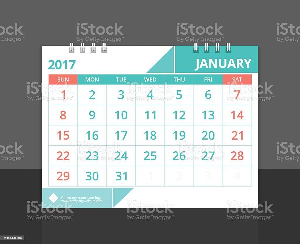 Desk calendar 2017 January design layout template vecto. vector art illustration