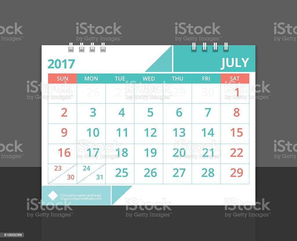 Desk calendar 2017 July design layout template vecto. vector art illustration