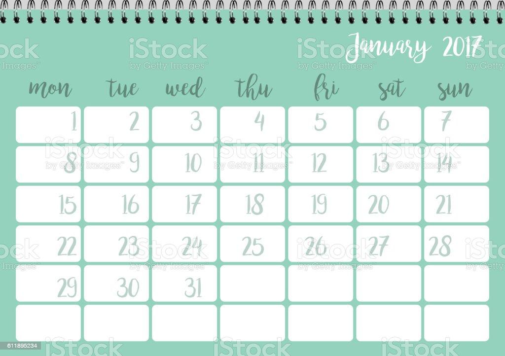 Desk calendar template for month January. Week starts Monday vector art illustration