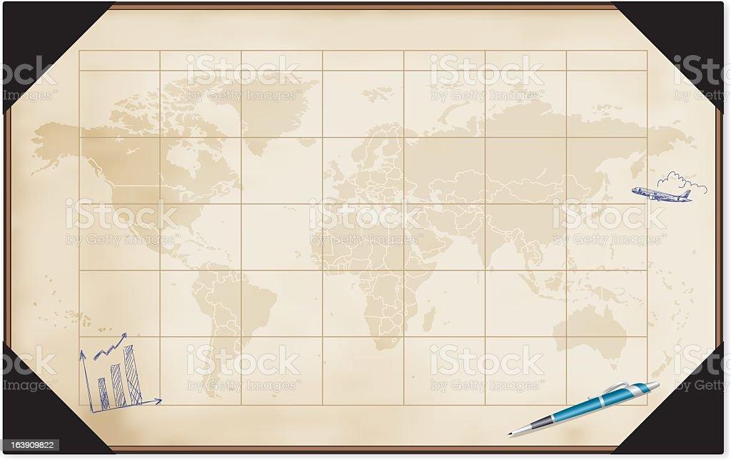 Desk Calendar With World Map vector art illustration