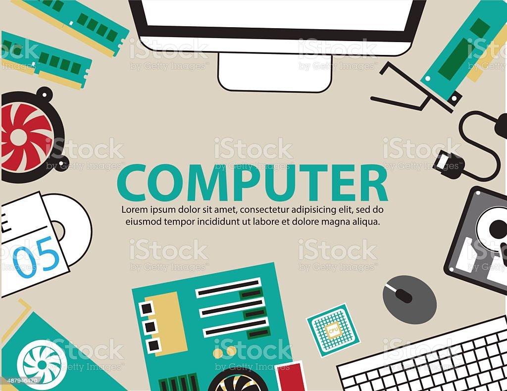 desk computer hardware ,vector Background vector art illustration