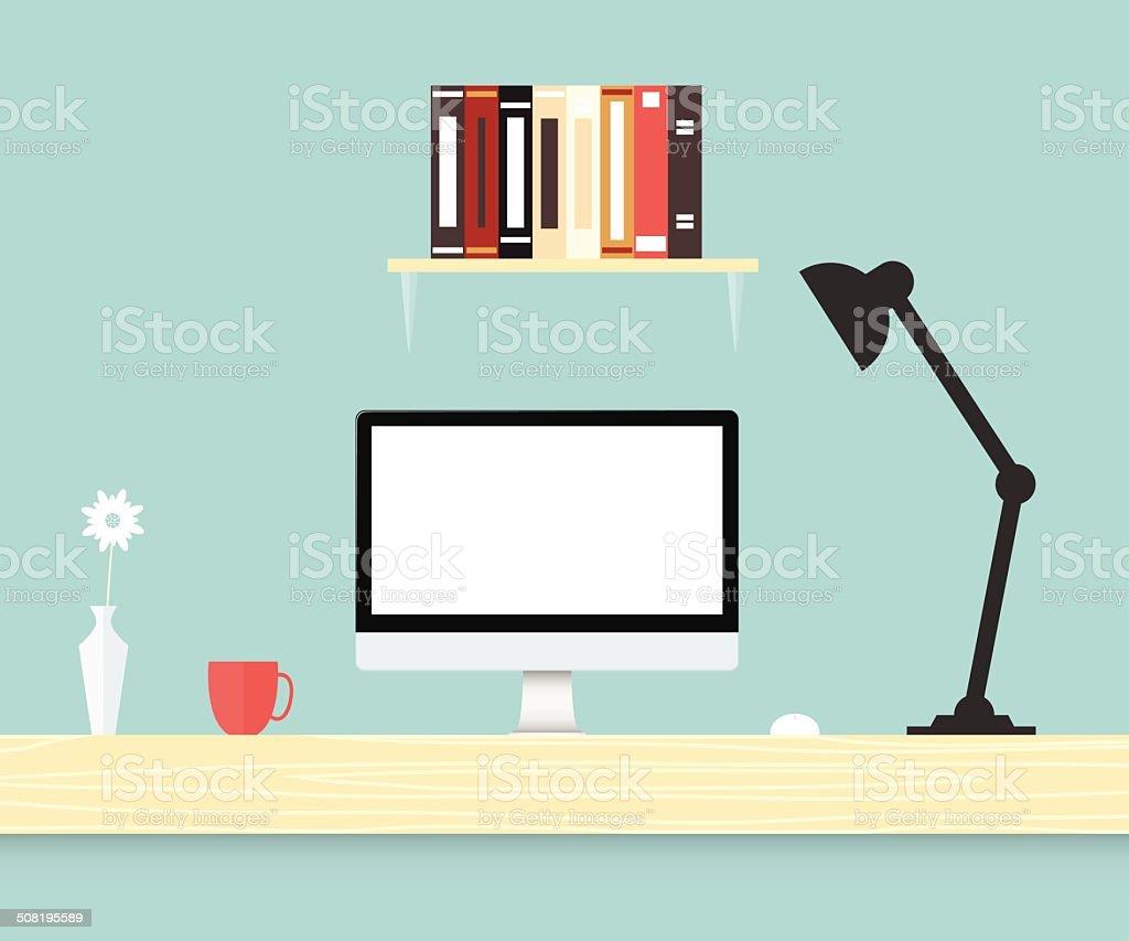 Desk home office vector art illustration