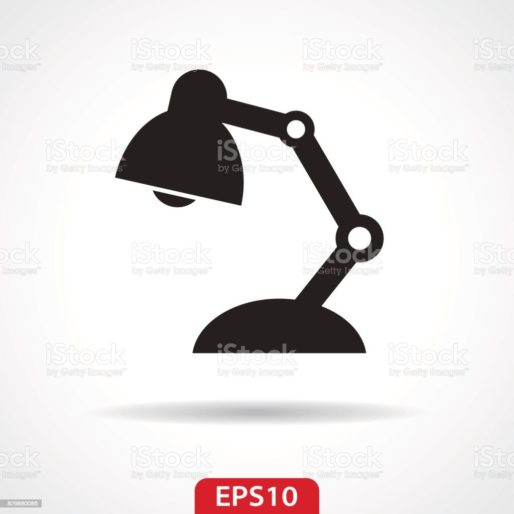 Desk Lamp Flat Icon - Vector Illustration vector art illustration