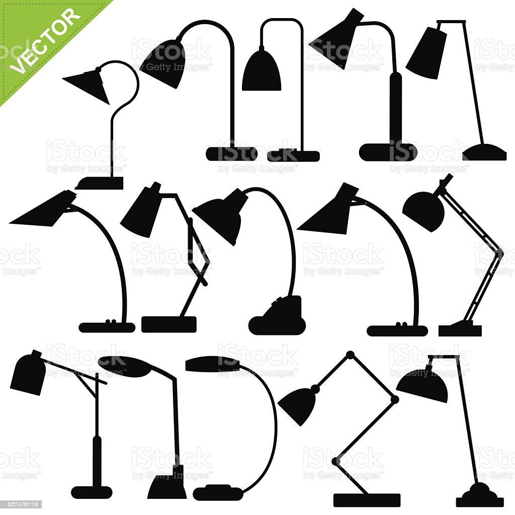 Desk lamp silhouettes vector vector art illustration