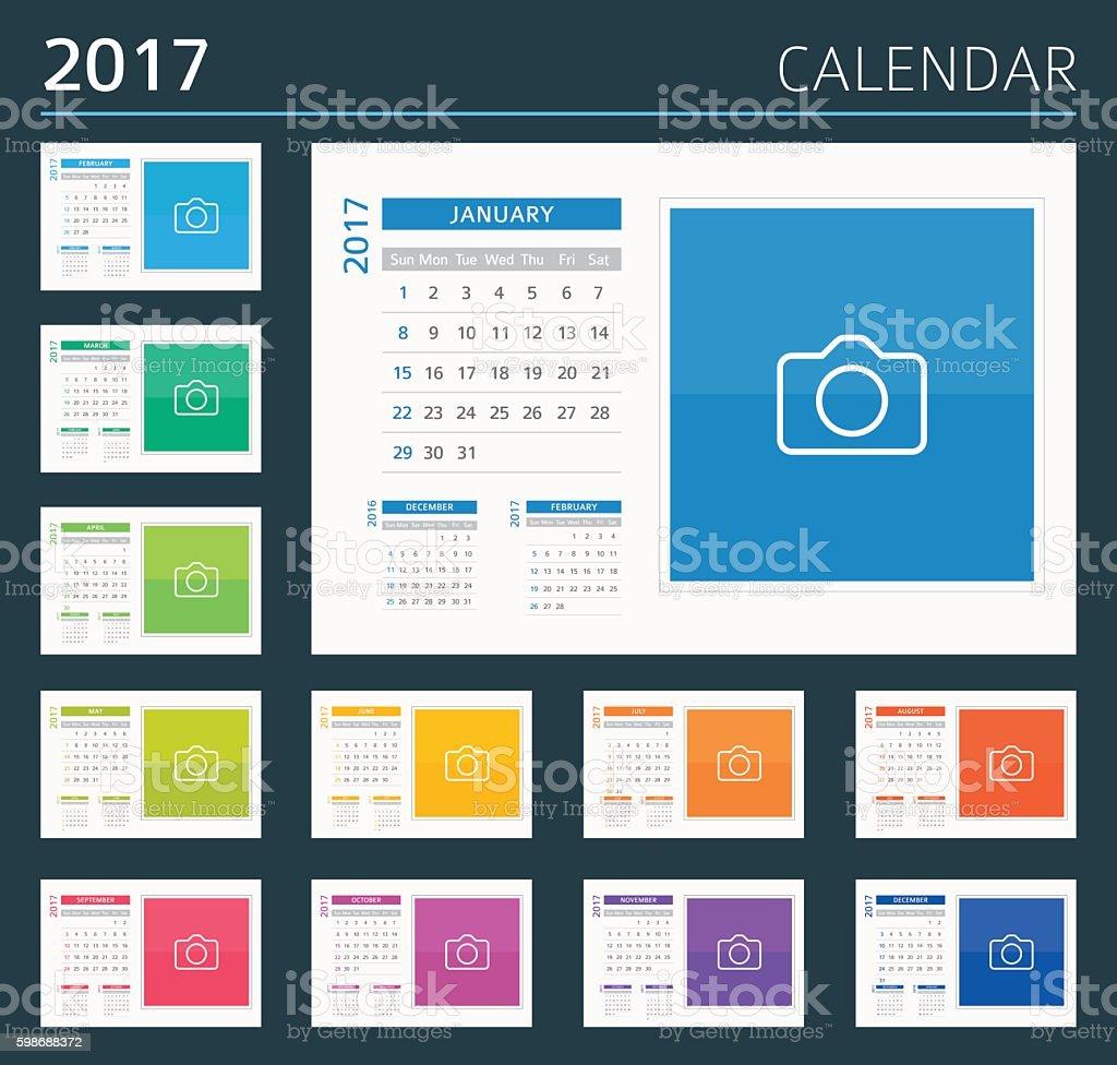 Desk, Wall Calendar 2017 - illustration vector art illustration