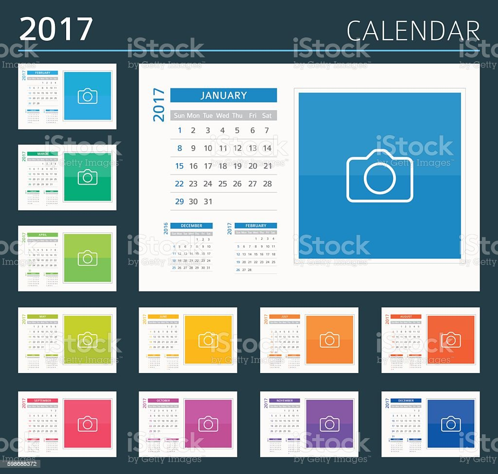 Desk, Wall Calendar 2017 - illustration vector art illustration