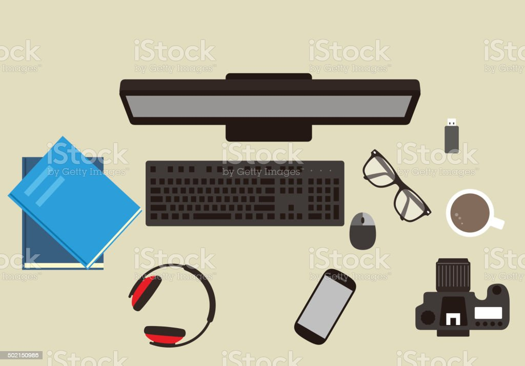 desk with computer and other things, vector stock photo