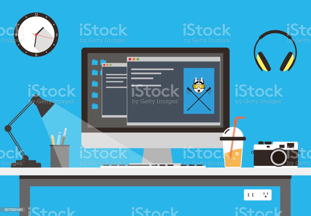 desk with computer and other things, vector vector art illustration
