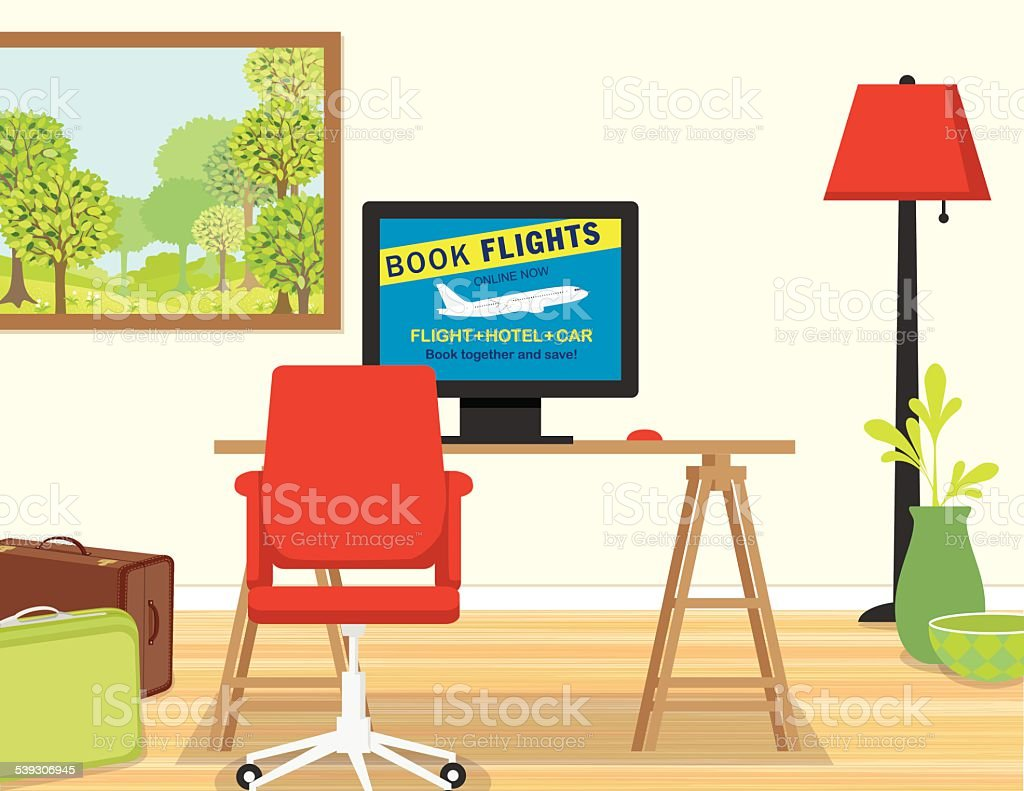Desk With Online Travel Booking Website vector art illustration
