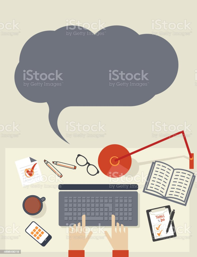Desk with stationery objects seen from above vector art illustration