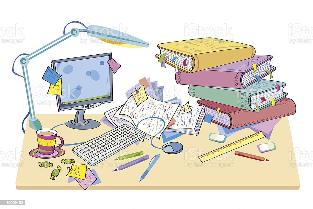 Desk with the computer and books vector art illustration