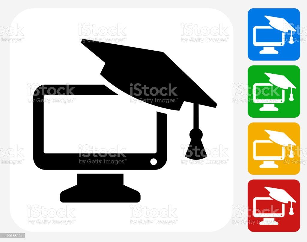Desktop and Graduation Cap Icon Flat Graphic Design vector art illustration