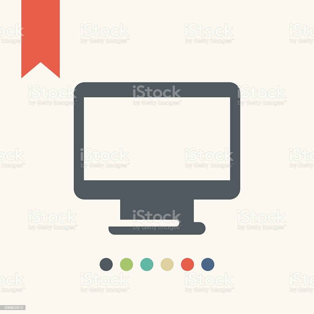 Desktop computer icon vector art illustration