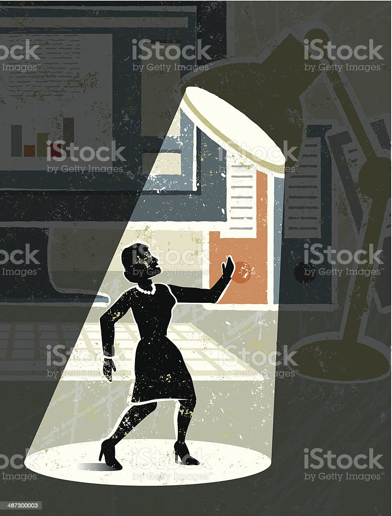 Desktop, Computer, Lamp,  and Tiny Businesswoman in the Spotlight vector art illustration