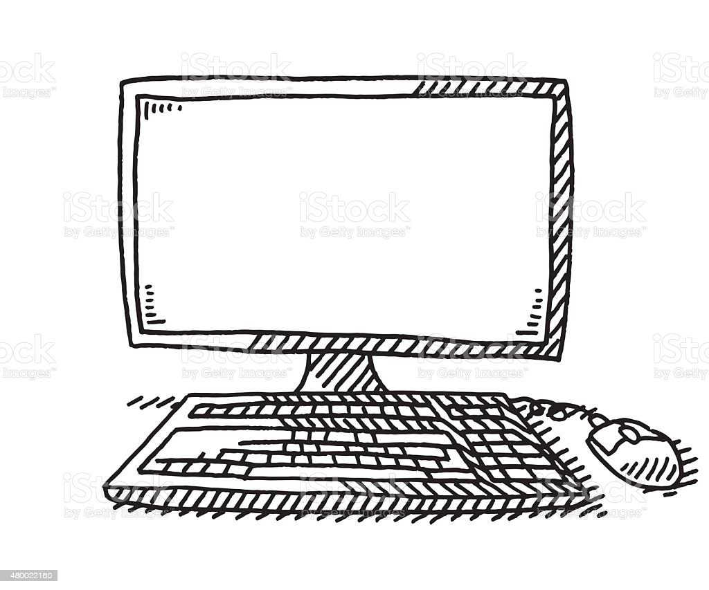 Desktop Computer With Keyboard And Mouse Drawing vector art illustration