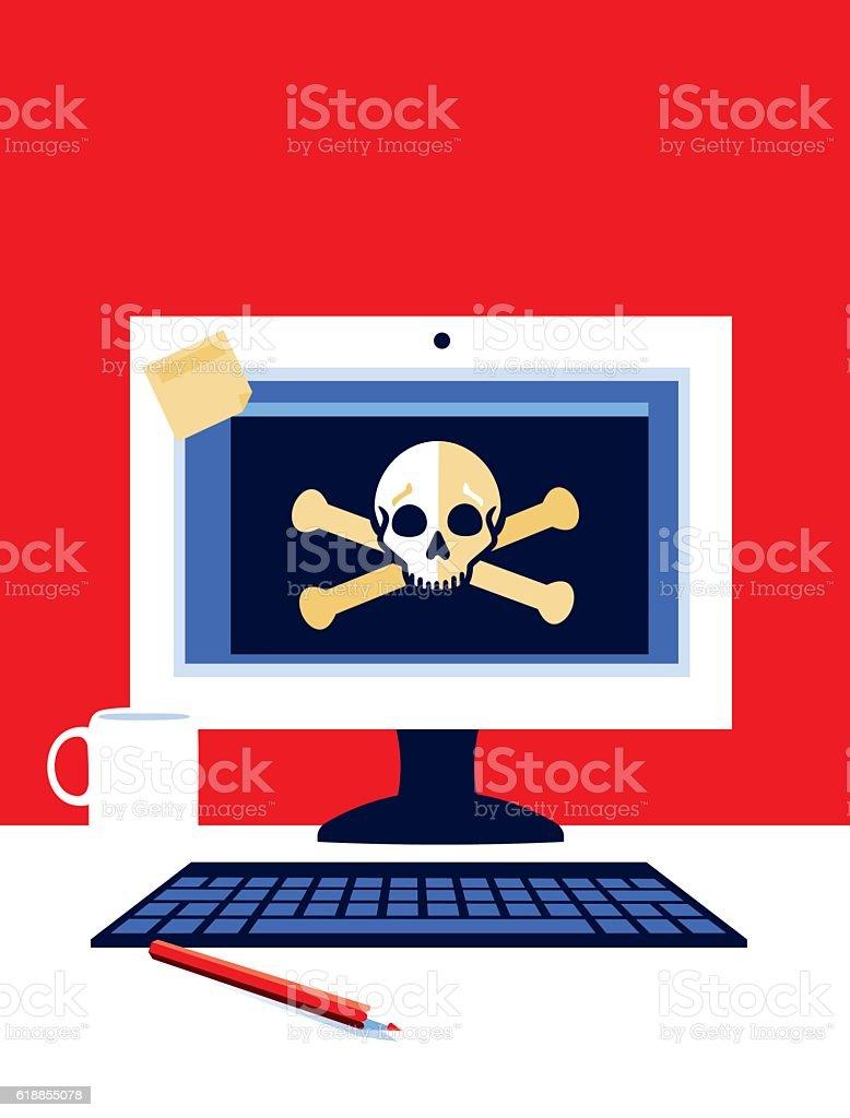 Desktop Computer with Skull and Cross bones vector art illustration