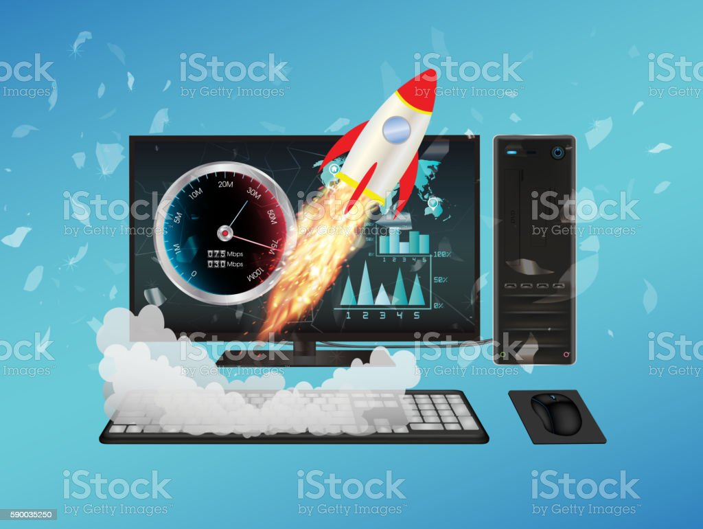 desktop computer with speed boost vector art illustration