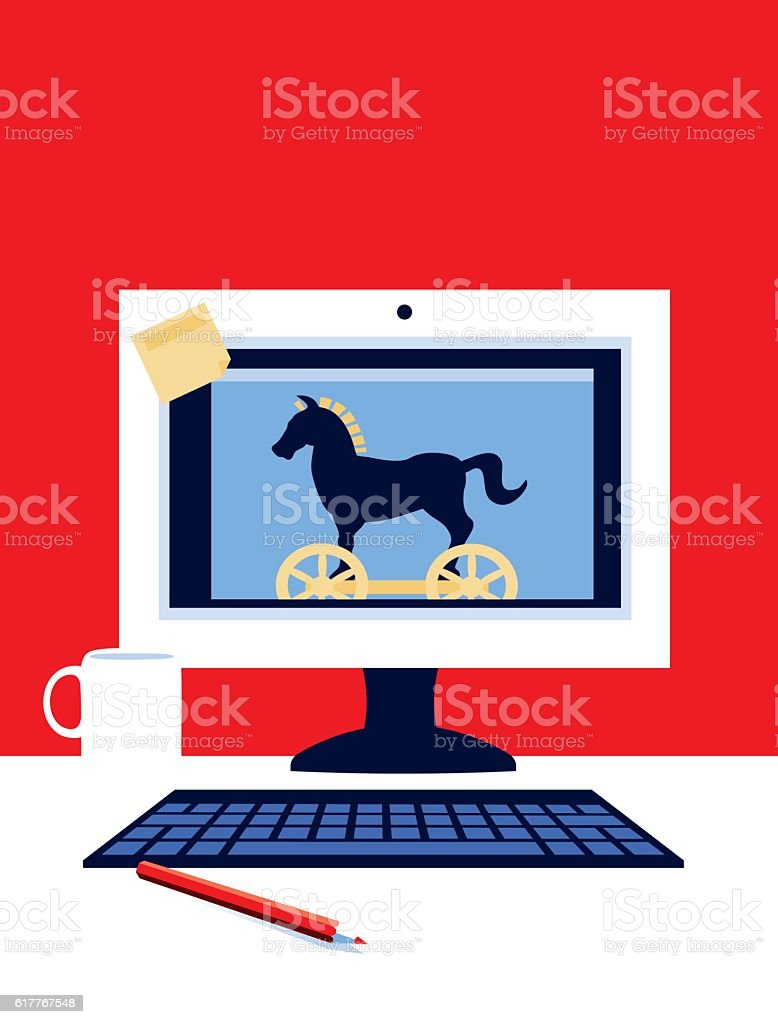 Desktop Computer with Trojan Horse vector art illustration