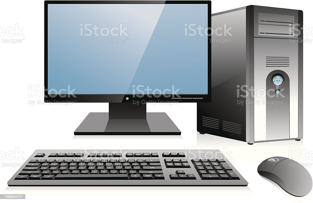 Desktop Computer Workstation vector art illustration