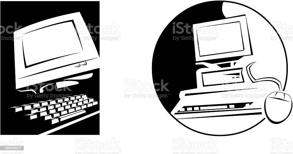 Desktop Computers - Vector royalty-free stock vector art