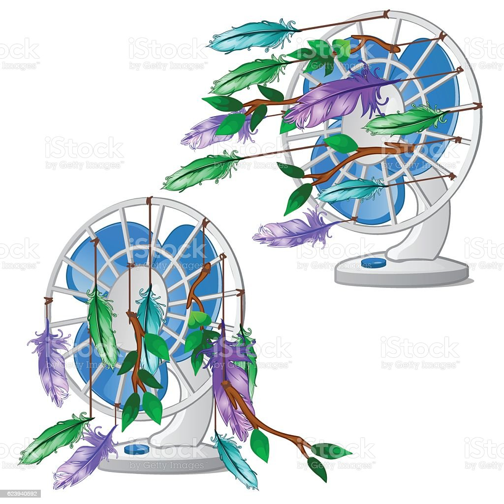 Desktop fan with colorful feather isolated vector art illustration