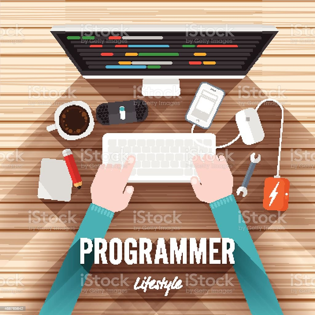 Desktop top view working for Programming vector art illustration