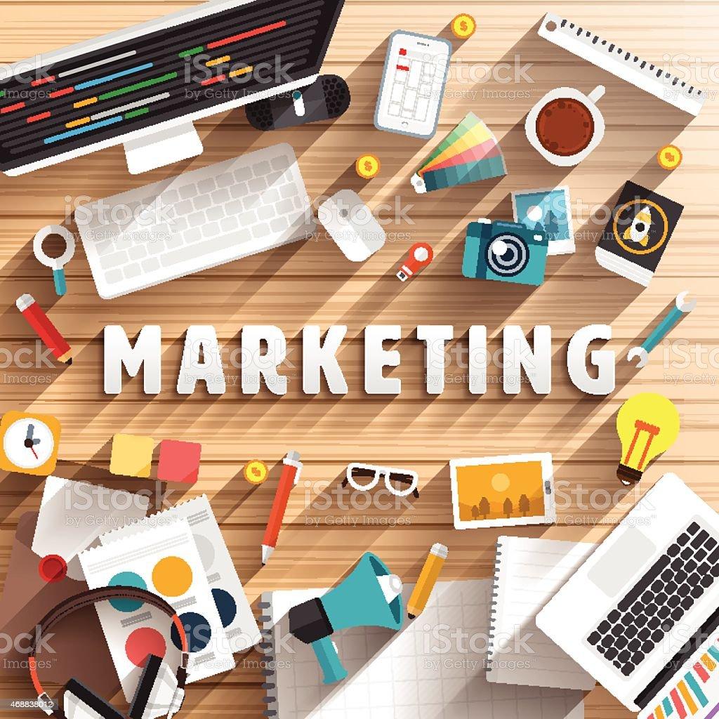 Desktop view of marketing tools vector art illustration