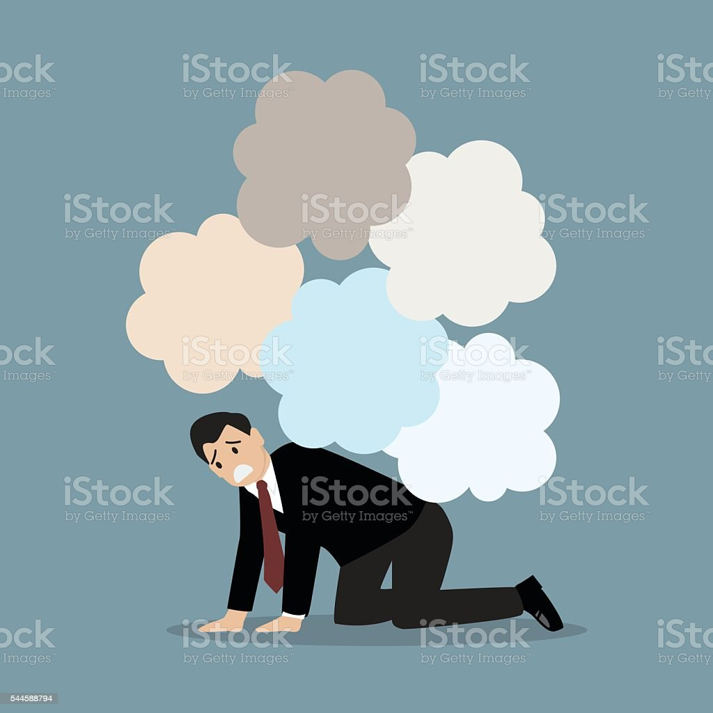 Desperate businessman under the trouble vector art illustration