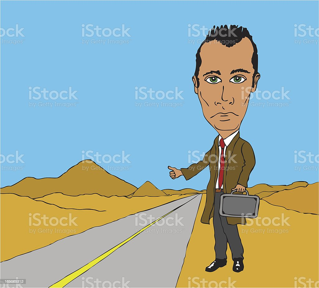 Desperate hitchhiker royalty-free stock vector art
