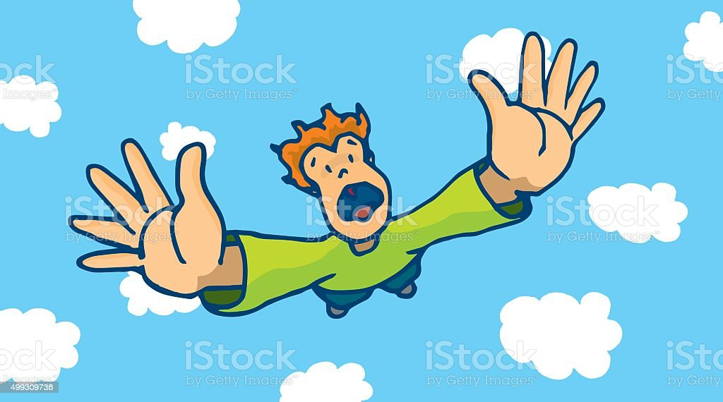 Desperate man free falling from sky vector art illustration