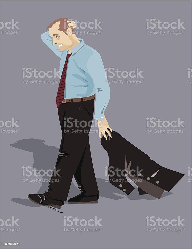 Desperate, sad and depressed man vector art illustration