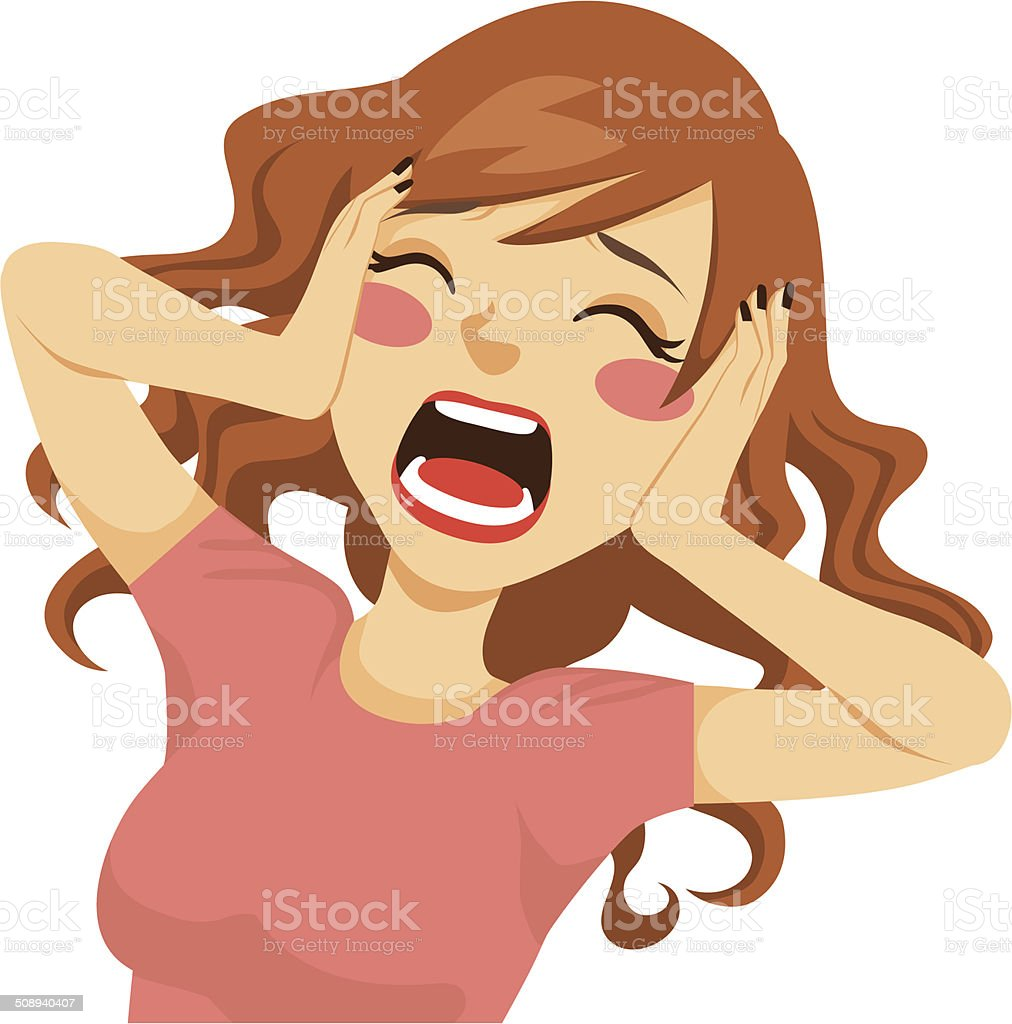 Desperate Screaming Woman vector art illustration