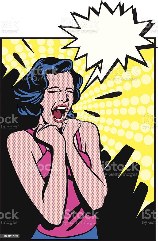 Desperate woman vector art illustration