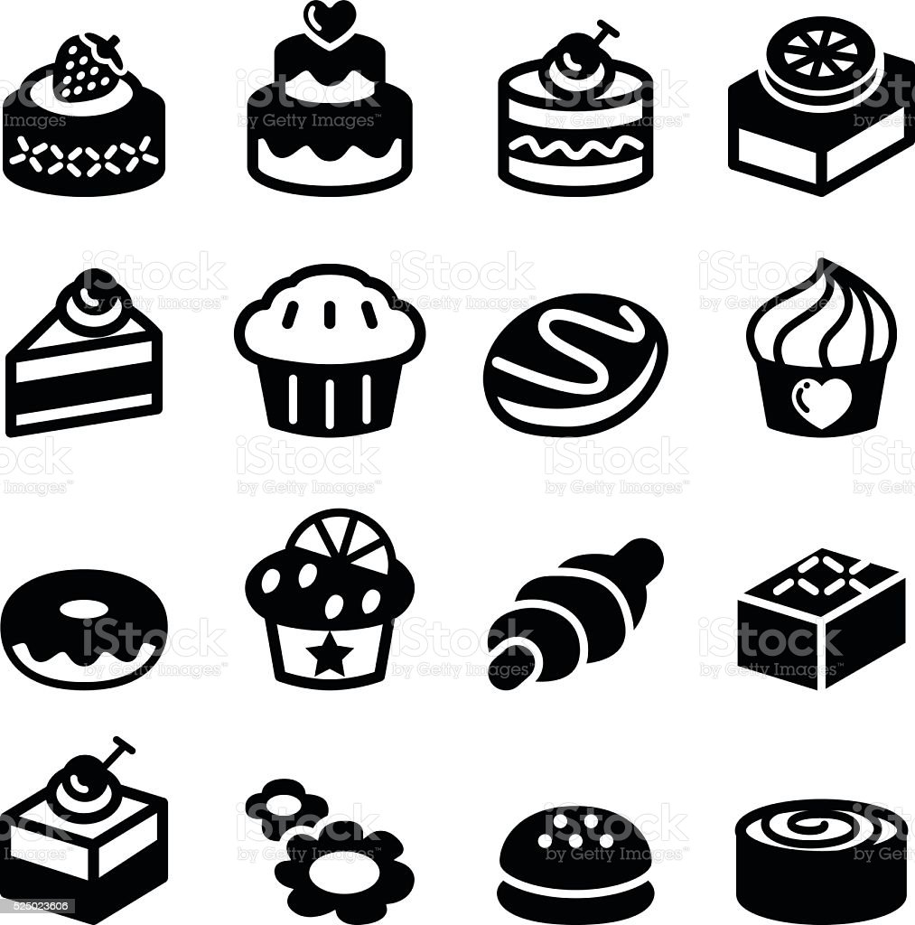Dessert & bakery icon set vector art illustration