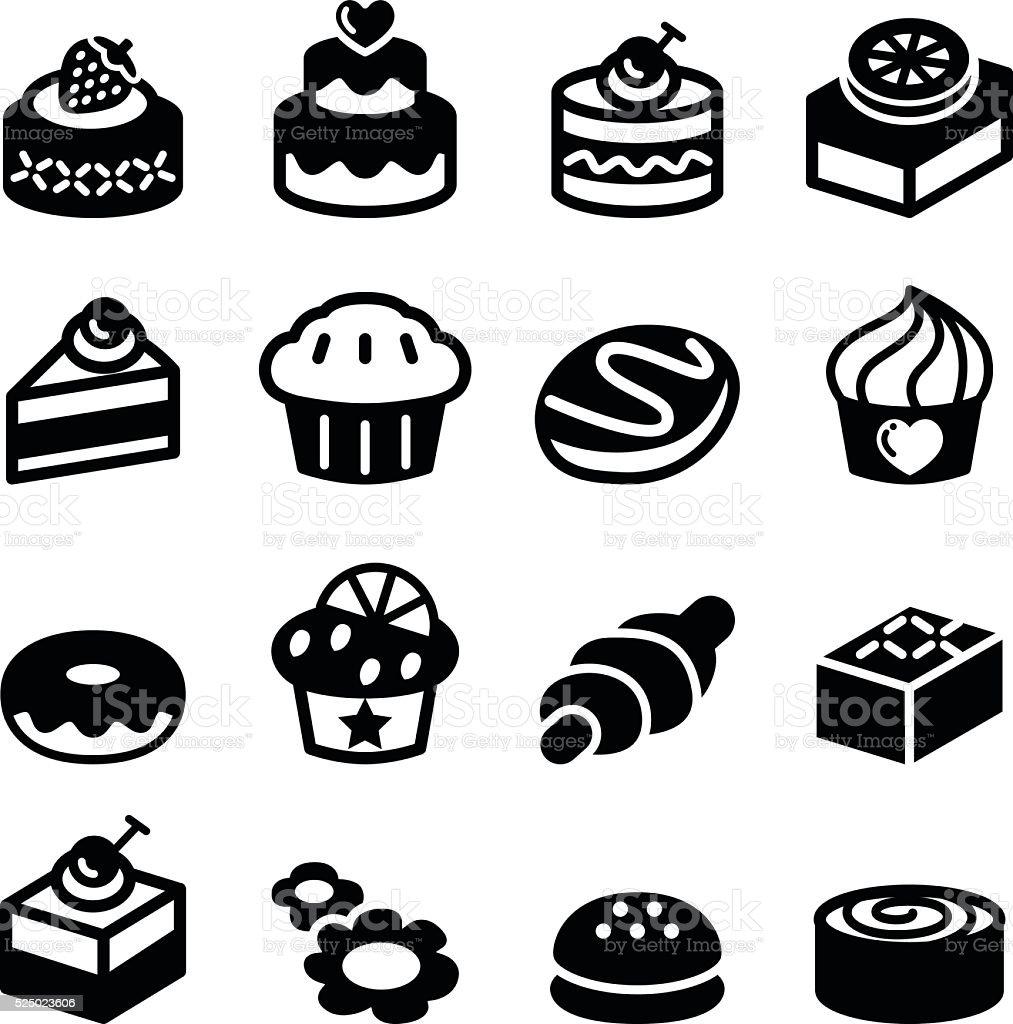 Dessert & bakery icon set vector art illustration