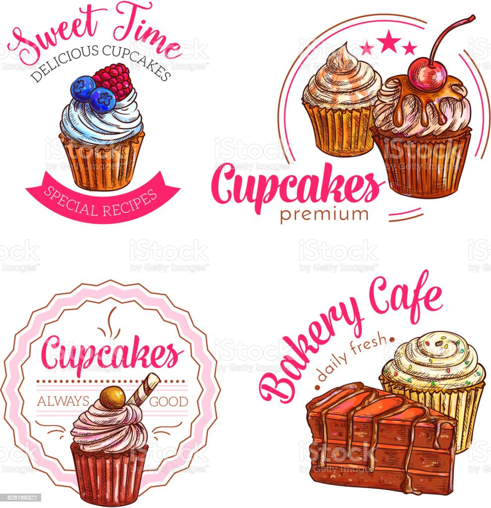 Dessert cakes and cupcakes vector icons vector art illustration