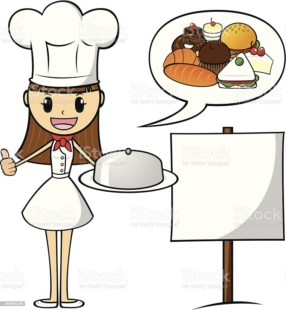 Dessert Chef and Banner royalty-free stock vector art