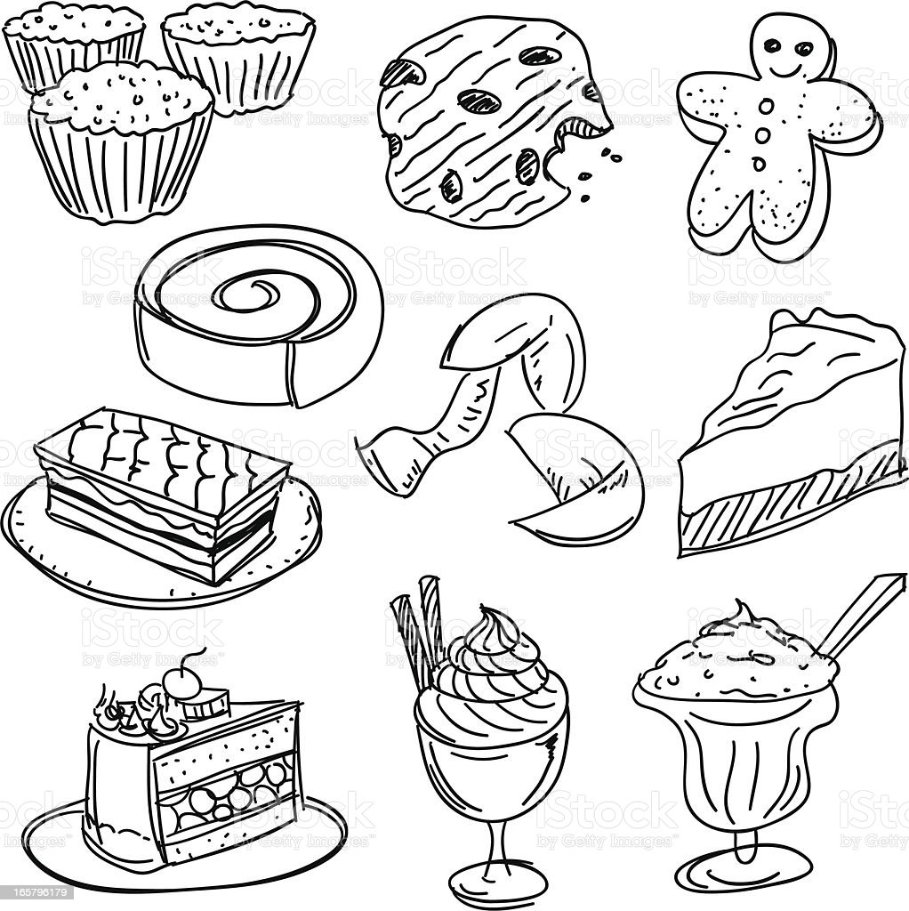 Dessert collection in Black and White vector art illustration