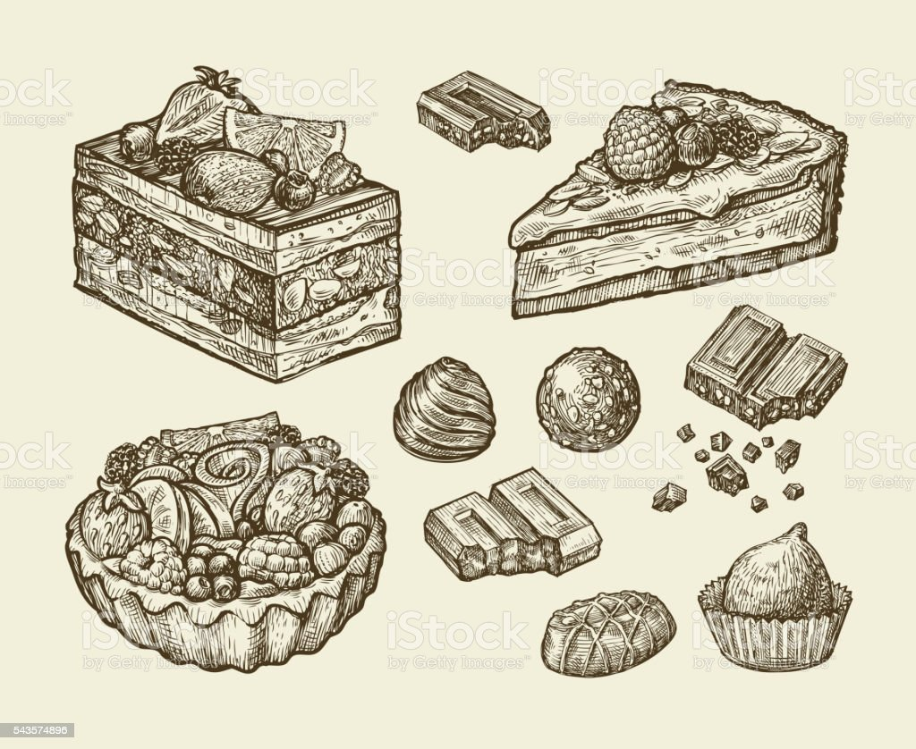 dessert, food. hand drawn cake, pastry, chocolate, pie, candy, sweet vector art illustration